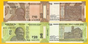 India-Set-10-amp-20-Rupees-2018-2019-UNC-Banknotes