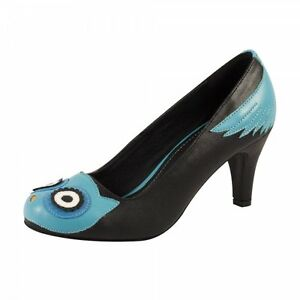 T-U-K-Blue-Owl-Face-amp-Wings-Black-Anti-Pop-High-Heel-Shoes-Vegan-Friendly