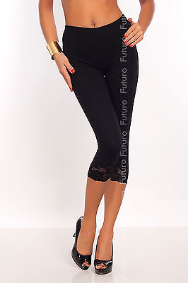 Cropped 3/4 Lenght Cotton Leggings With Lace ☼ All Colours & All Sizes