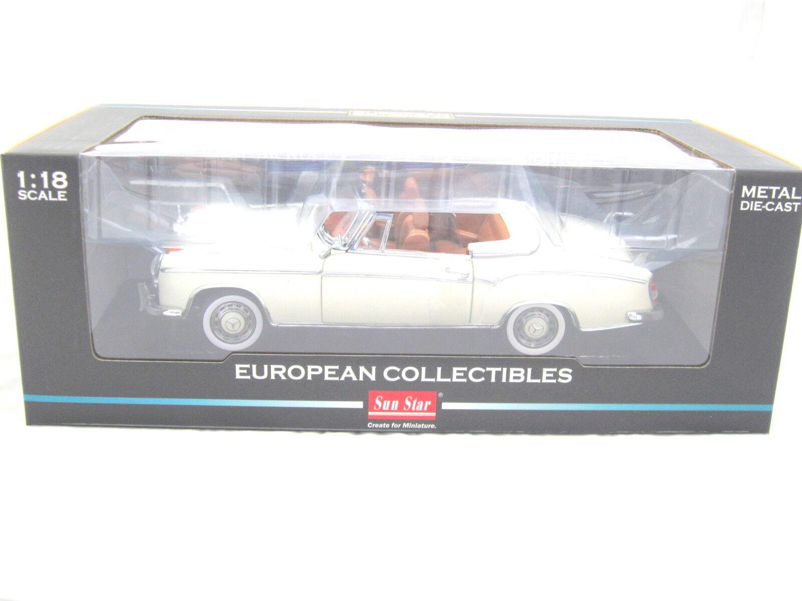 Sunstar 1958 1958 1958 Mercedes 220se Abierto Converdeible blancoo 1 18 Diecast Sunstar 3555 5abaf8