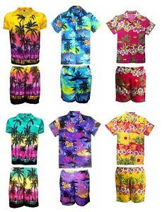 Para-hombres-Camisa-Hawaiana-Corto-Conjunto-Stag-PLAYA-HAWAI-ALOHA-vacaciones-de-verano-elaborado-D8