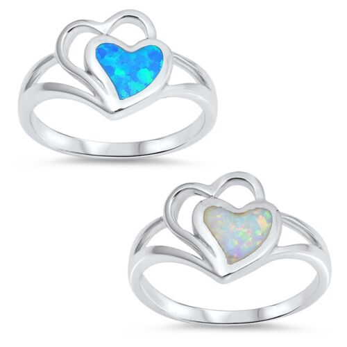 White or Blue Opal Two Heart Ring Sterling Silver
