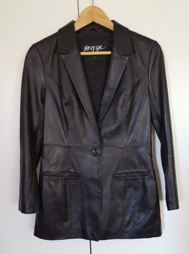 bouton en Veste à pour cuir Gal de Nasty Nwt 1 blazer noir femme q08ZH1w
