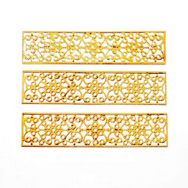 Wholesale New 30 pcs Bronze Tone Filigree Flower Wraps Connectors 46mm