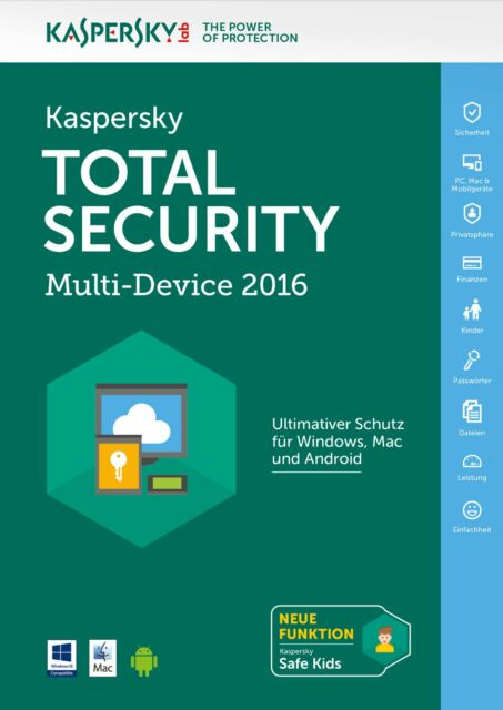 Kaspersky Total Security MD 2016 - 5 PC / Geräte - 1 Jahr - KEY -