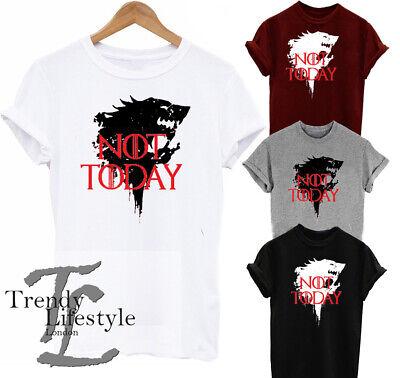 Game Of Thrones Arya Stark Ispirato Dio Della Morte Non Oggi Lupo Stampa Tshirts-mostra Il Titolo Originale