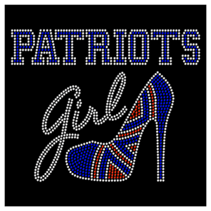 Patriots Girl Heel Heels Diva Football Rhinestone Bling Transfer Hot Fix Iron On