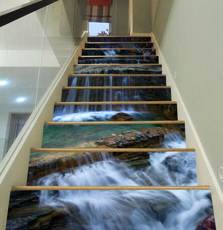 3DWinter Fluss  Stair Risers Dekoration Fototapete Vinyl Aufkleber Tapete DE