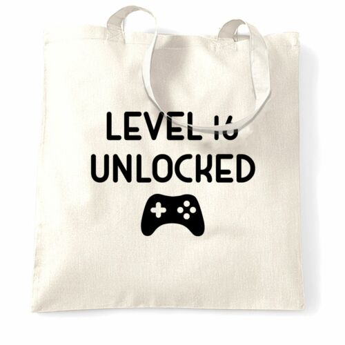Details about  /Gamers 16th Birthday Tote Bag Level 16 Unlocked Slogan Console PC Video