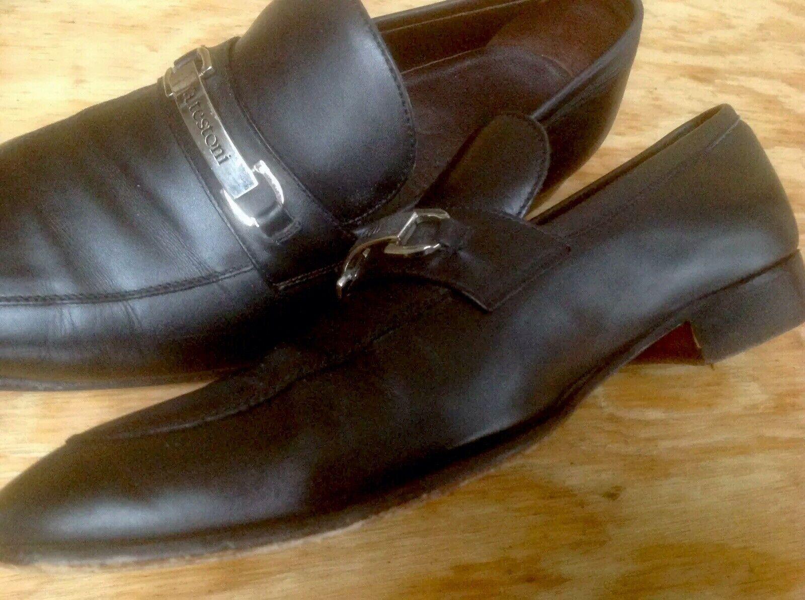 A. Testoni shoes Black Loafers Leather Handmade Horse Bit Men's Size 8.5 M