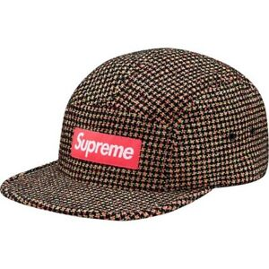 61db0b02 Details about SUPREME Boucle Houndstooth Camp Cap Neon Navy box logo tnf  F/W 17