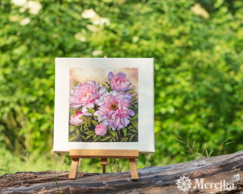 Tender Peonies counted cross stitch kit by Merejka K-177