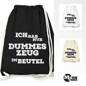 Turnbeutel-mit-Spruch-034-dummes-Zeug-im-Beutel-034-Jutebeutel-Gymbag-Moonworks