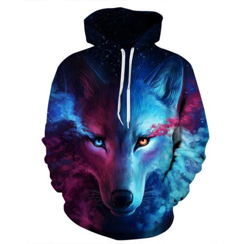 Unisex 3D Print Space Wolf Graphics Sweatshirt Jacket Pullover Hoodie Sweater