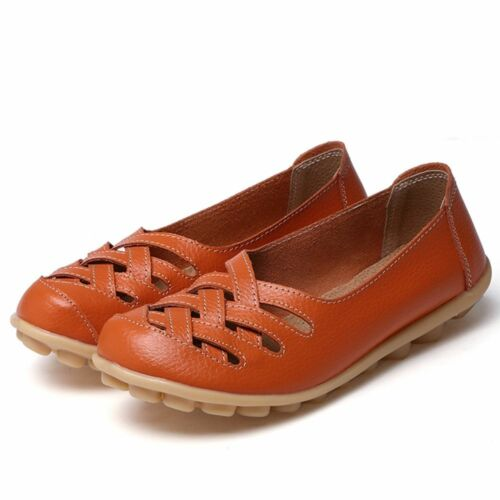 Women Casual Genuine Leather Slip on Loafers Moccasin Flats Boat Oxfords Shoes