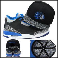 Mitchell & Ness Chicago Blackhawks CUSTOM Snapback Hat Jordan 3 Sport Blue