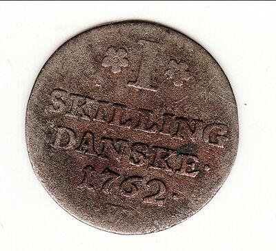 Eerlijk Danemark Rare 1 Skilling 1762 B1 T6
