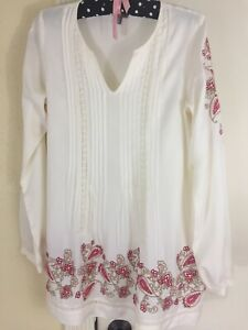 J-Jill-Hippie-Boho-Peasant-Paisley-Floral-Embroidered-LS-Lace-Ivory-Tunic-Top-XS