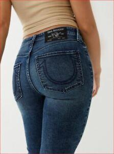 new TRUE RELIGION women jeans Jennie Curvey 204292 midrise skinny blue W25