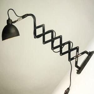 Scheren-Lampe-Schroeder-Lobenstein-alte-Wand-Leuchte-MSW-Bauhaus-Scissor-Lamp30er