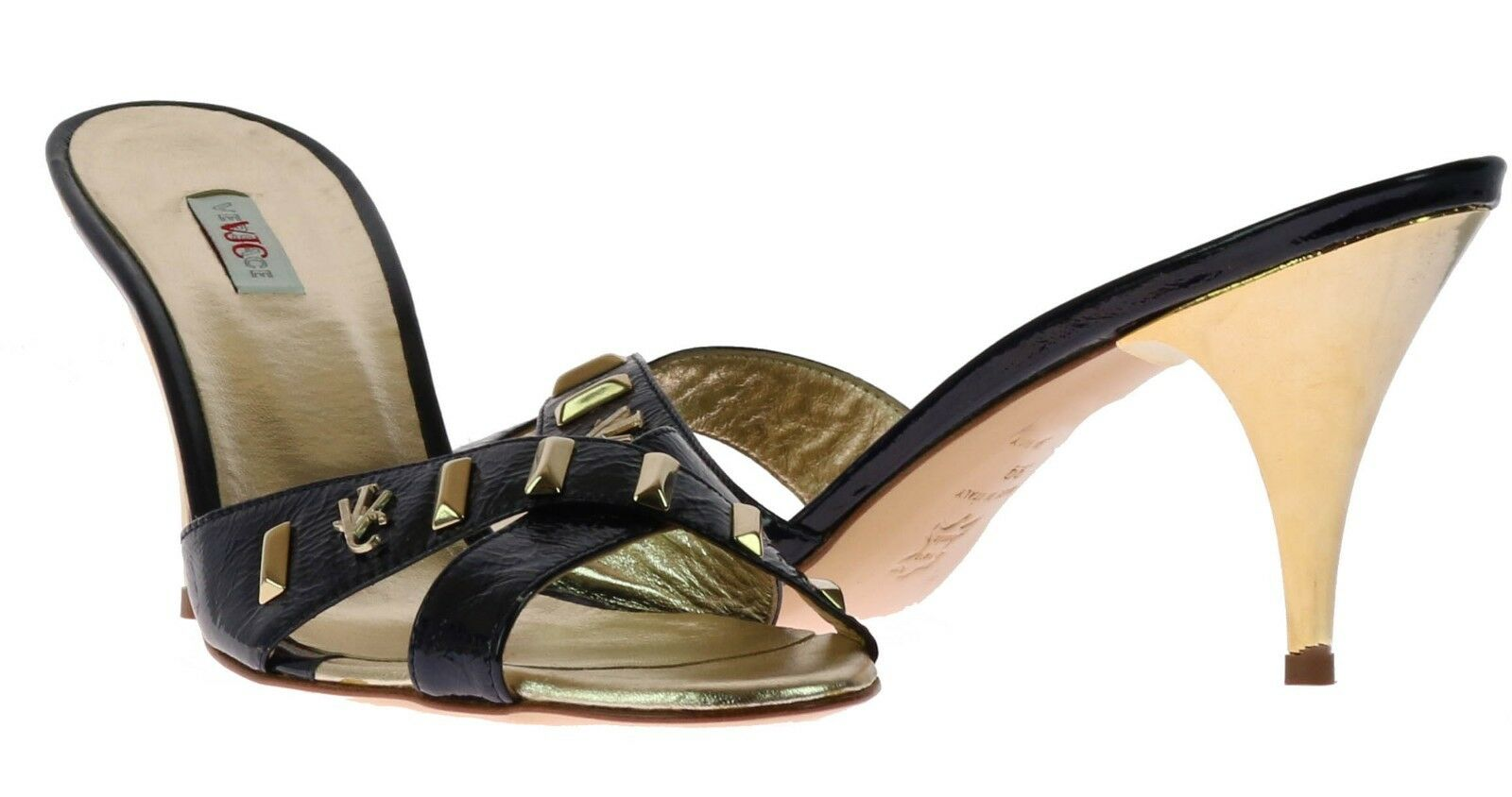 New Versace Navy Blau Patent Leather Gold Gold Gold Stud embellished sandals schuhe 39 - 9 a163e8