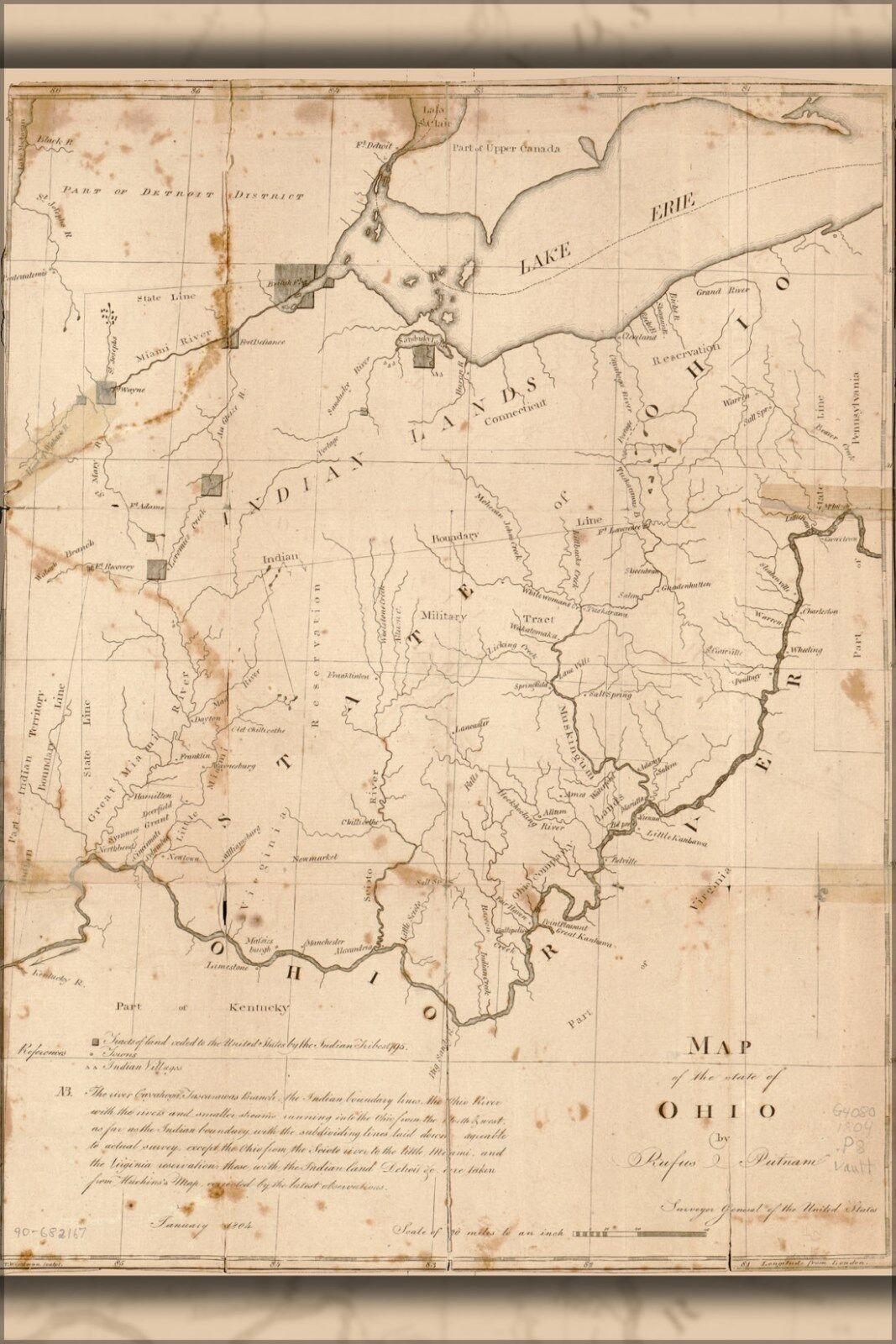 Plakat, Viele Größen; Landkarte der Stateroom von Ohio 1805