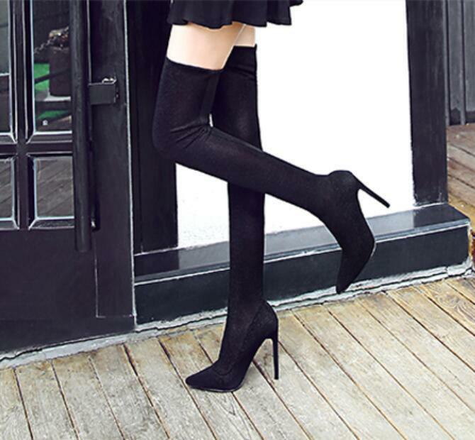 Womens Knee High Boots Oxford New Pointy Toe Stilettos High Heel shoes Sz35-40