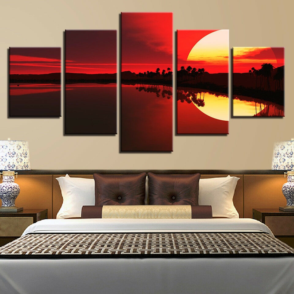 Tropical Island Over rot Sunset 5 Panel Canvas Print Wall Art