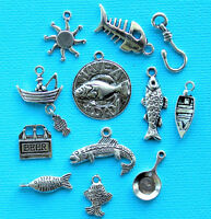 Fishing Charm Collection 12 Tibetan Silver Tone Charms Free Shipping E95