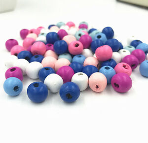 Nouveau 200X en Bois Perles Rond Ball Spacer Beads Kid/'s Do It Yourself for jewelry making 10 mm