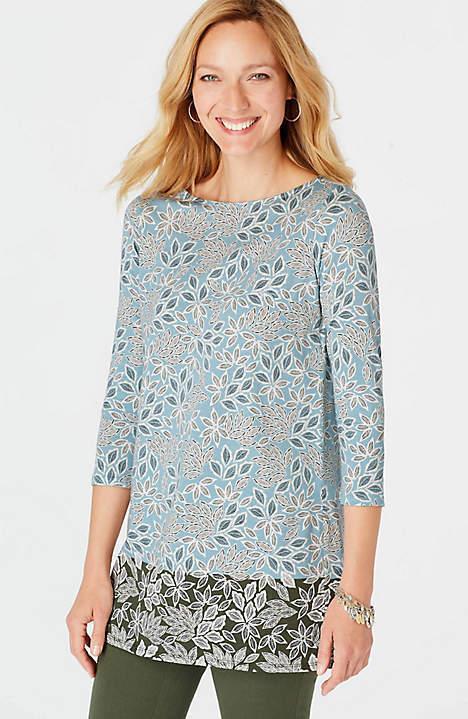 J. Jill - 2X(Plus) - Great Chalk Blau Woodcut Leaves Border-Print Knit Tunic NWT