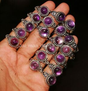 New 5 Pcs Lot Natural Amethyst Gemstone 925 Sterling Solid Silver Rings RS-5