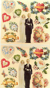 Vintage-Victorian-Wedding-Stickers-Scrapbook-Set-of-22-Die-Cut-Stickers