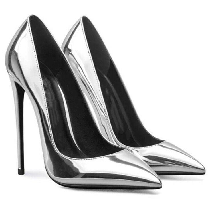 Femmes cuir verni talons aiguilles compensés à bout pointu à Enfiler Escarpins Talons Hauts OL chaussures