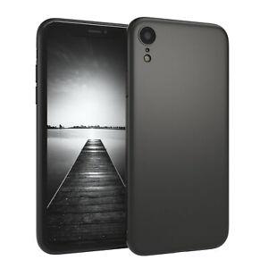 Apple-iPhone-XR-Huelle-Case-Silikon-Cover-Schutz-Tasche-Slim-Etui-Matt-Schwarz