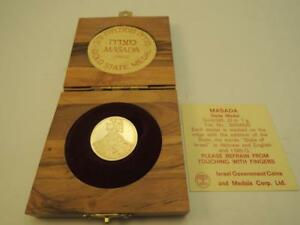 Israel-1965-Masada-State-Medal-22mm-7g-Gold-14k-COA-Olive-Wood-Box