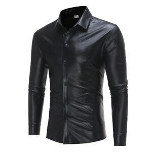 Night-Club-Wear-Men-039-s-Elastic-Shirts-Slim-Stylish-Shiny-Shirt-Mens