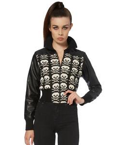 Monochrome-Skulls-Skeleton-Bone-Knitted-Faux-Leather-Sleeve-Zip-Up-Jacket