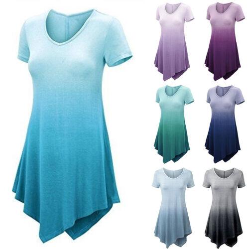 Damen Gradient Kurzarm Basic-T-Shirt Irregulär Rundhals Longtop Falten Oberteil