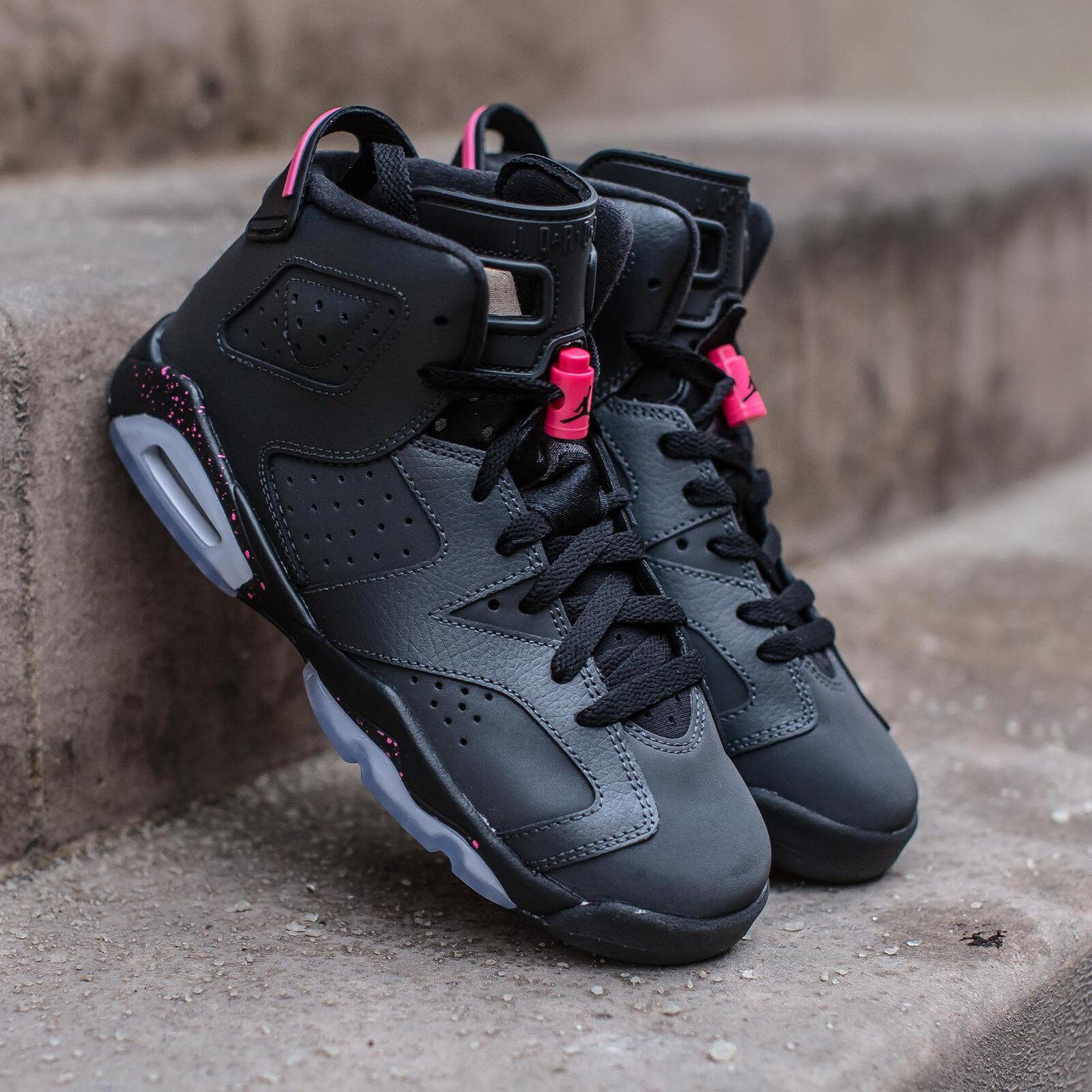 2017 Nike Air Jordan 6 VI Retro Black Hyper Pink Size 9.5y. 543390-008 1 2 3 8.5
