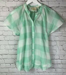 MAEVE-by-ANTHROPOLOGIE-Womens-039-Mint-Green-Checked-Short-Sleeve-Shirt-Size-Small