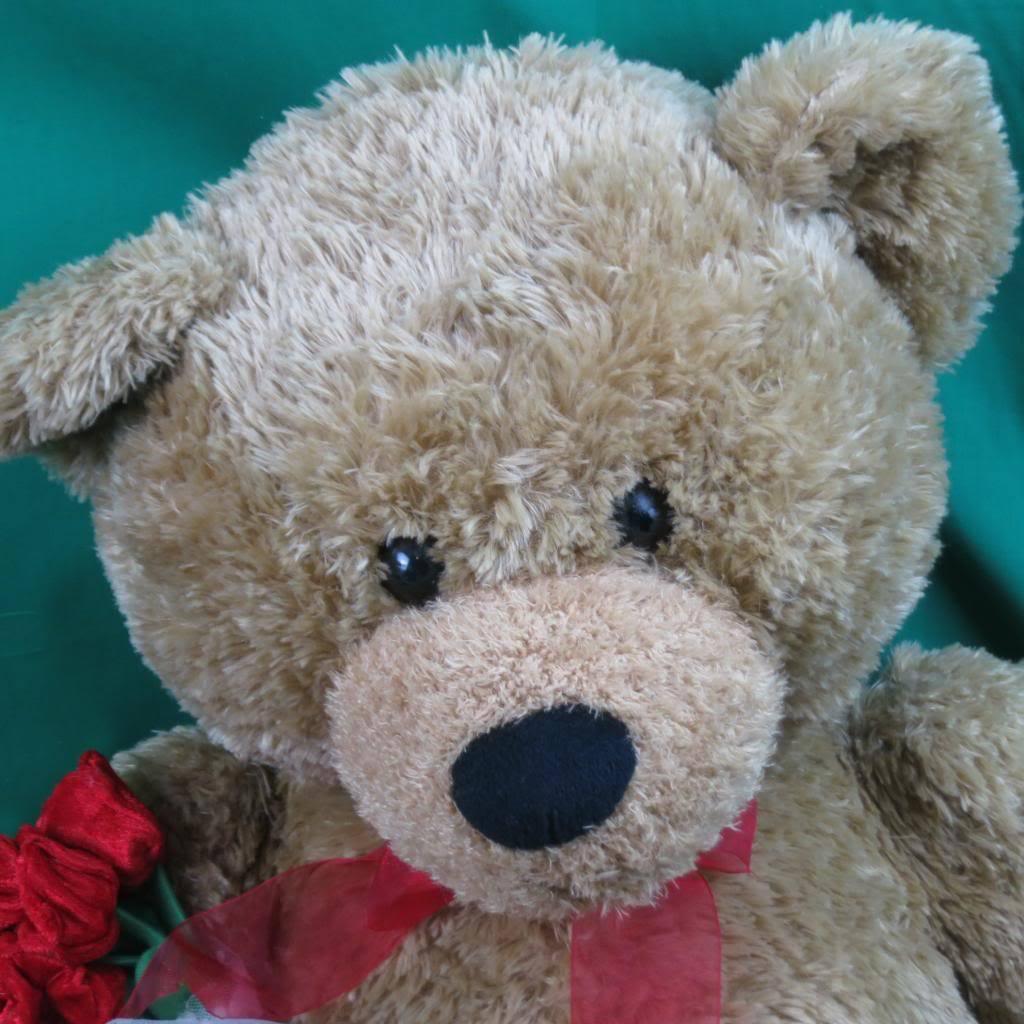 BIG JUMBO BEST MADE TOYS GOLDEN braun TEDDY BEAR ROT ROSES BOUQUET PLUSH STUFFED