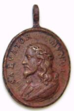 Large BRONZE Baroque HOLY MEDAL Salvator Mundi Jesus Salvation Face of Christ