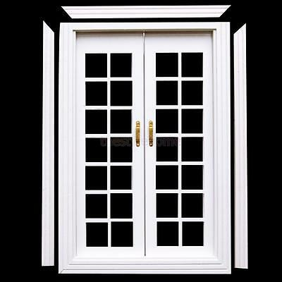 White Miniature Exterior Birch Wooden French Door 1:12 Scale Dollhouse