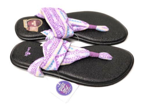 Sanuk Youth Yoga Sling Burst Purple Multi Canvas Kids Flip Flop Sandals 1011419Y