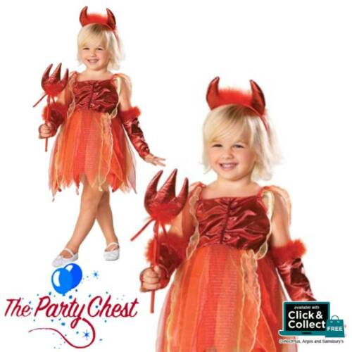 GIRLS LITTLE DEVIL FAIRY COSTUME Child Cute Devil Halloween Fancy Dress Outfit