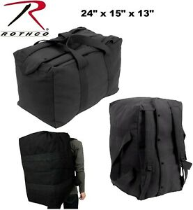 9a09a6d44d82 Details about Black Heavy Duty Canvas Military Parachute Cargo Bag  W/Backpack Straps 3125