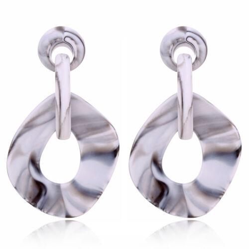 Newest Elegant Vintage Geometric Resin Round Ear Stud Dangle Statement Earrings
