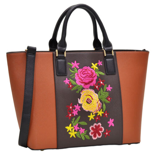 Women Handbag Flora Faux Leather Satchel Briefcase Trapeze Shoulder Bag