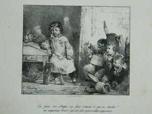 Engraving-Scene-Morale-Charlet-Imp-Bertauts-Band-Of-Arts-Xixth